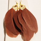 Feather Earrings  - Brown